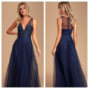 Maniju Legendary Evening Blue Lace Maxi Dress. NEW